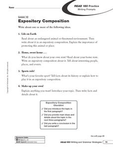 Expository Composition: Writing Prompts Worksheet