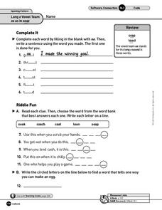 Long o Vowels: oa and ow Words Worksheet