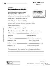 Future Tense Verbs Worksheet