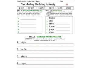 Vocabulary Building: Final-e Rule III Worksheet