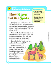 Problem/Solution: How The Fawn Got Her Spots Worksheet