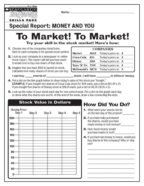 To Market! To Market! Worksheet for 8th - 12th Grade   Lesson Planet