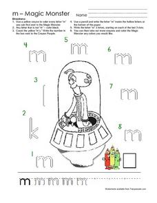 The Letter M: Magic Monster Worksheet