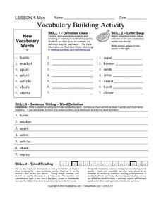 Vocabulary Building: ar Worksheet
