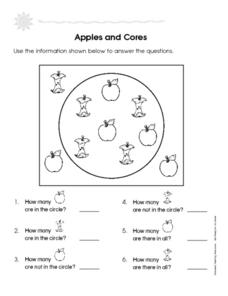Apples and Cores: Add 1-5 Worksheet
