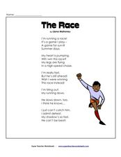 The Race: Reading Comprehension Worksheet