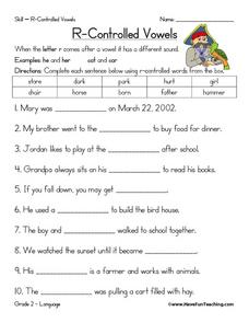 R- Controlled Vowels Worksheet