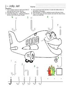 j - Jolly Jet Worksheet