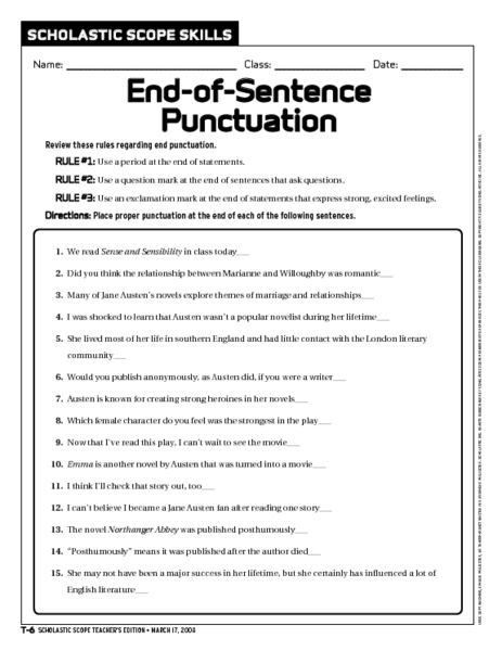 end of sentence punctuation worksheet for 6th 9th grade lesson planet. Black Bedroom Furniture Sets. Home Design Ideas