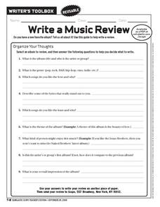 Write a Music Review Worksheet