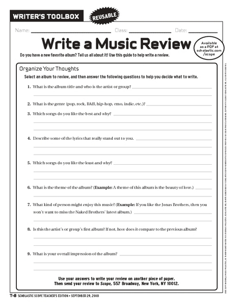 write a music review worksheet for 6th 9th grade