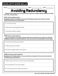 Avoiding Redundancy Worksheet