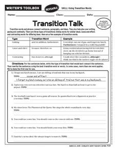 Transition Talk Worksheet