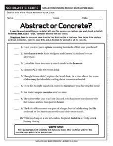 Abstract and Concrete Nouns Lesson Plans & Worksheets
