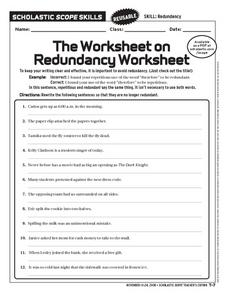 the worksheet on redundancy worksheet worksheet for 6th 10th grade lesson planet. Black Bedroom Furniture Sets. Home Design Ideas