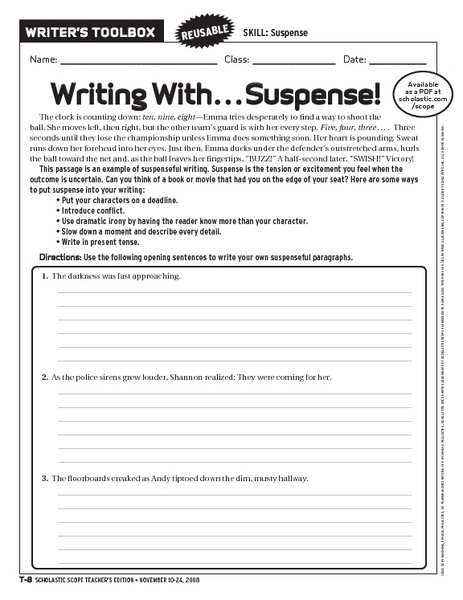 writing with suspense worksheet for 6th 10th grade lesson planet. Black Bedroom Furniture Sets. Home Design Ideas