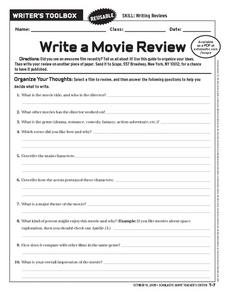 Write a Movie Review Worksheet