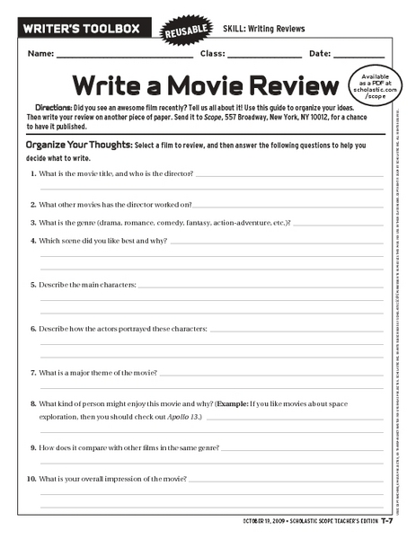 So What Do You Think? Writing a Review - ReadWriteThink