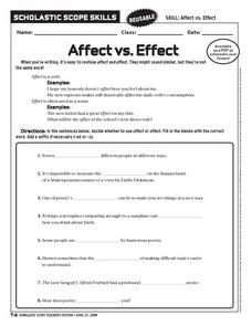 Affect Vs. Effect Worksheet
