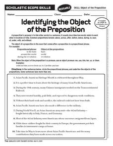 Identifying the Object of the Preposition Worksheet