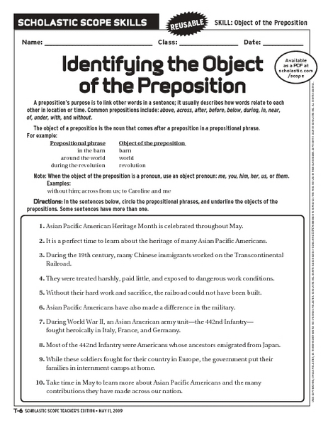 Collection of Identifying Prepositions Worksheet - Sharebrowse