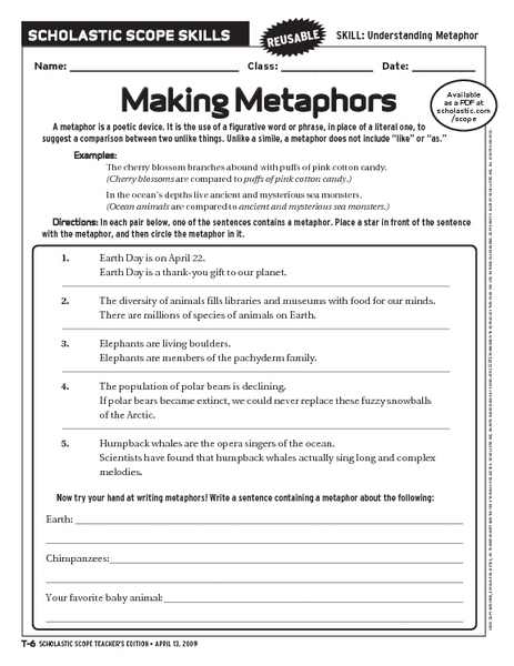 making metaphors worksheet for 6th 10th grade lesson planet. Black Bedroom Furniture Sets. Home Design Ideas