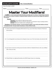 Master Your Modifiers! Worksheet
