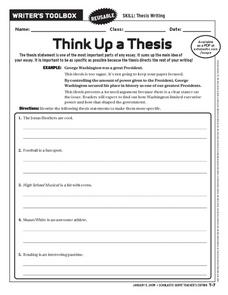 Think Up A Thesis Worksheet For 6th - 10th Grade | Lesson Planet