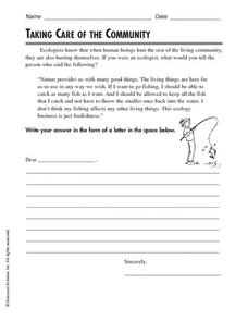 Taking Care of the Community Worksheet