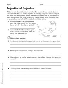 Evaporation and Temperature Worksheet