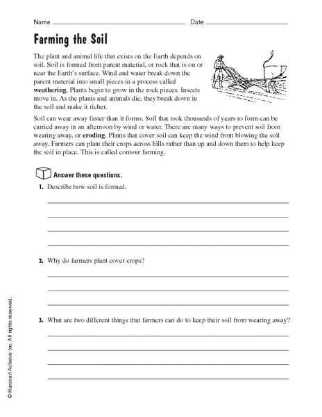 4th grade soil worksheets for 4th grade printable for Soil 6th grade science