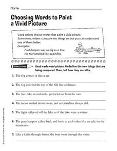 Choosing Words to Paint a Vivid Picture Worksheet