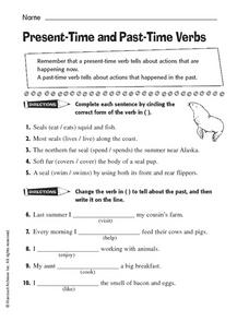 Present-Time and Past-Time Verbs Worksheet