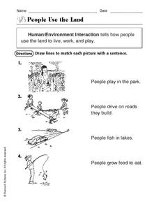 People Use the Land: Human/Environment Interaction Worksheet