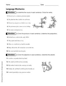 Language Mechanics - Nouns, Pronouns, Prepositions, Adjectives and Adverbs Worksheet