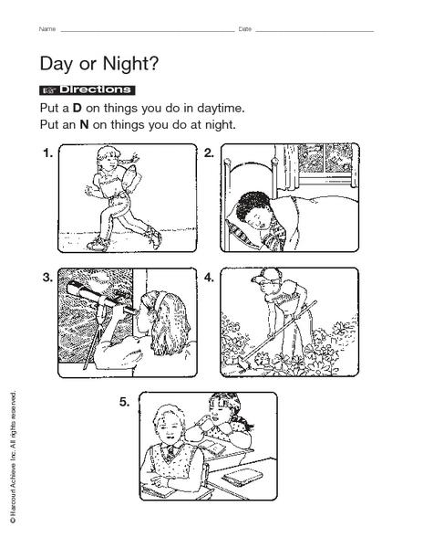 Day Night Worksheets Kindergarten