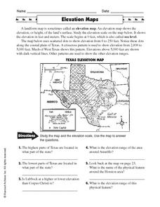 Elevation Maps Worksheet