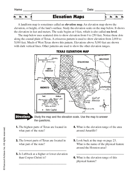 Map Of Texas For 4th Grade.Elevation Maps Worksheet For 3rd 5th Grade Lesson Planet
