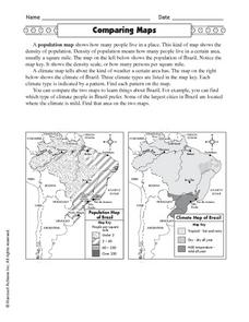 Comparing Maps: Brazilian Rainforest Worksheet