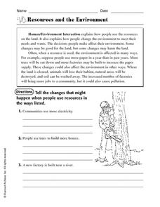Resources and the Environment Worksheet