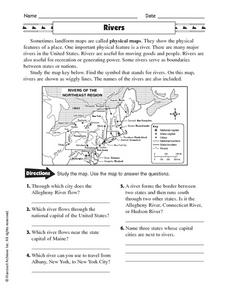 Physical Maps: Rivers Worksheet