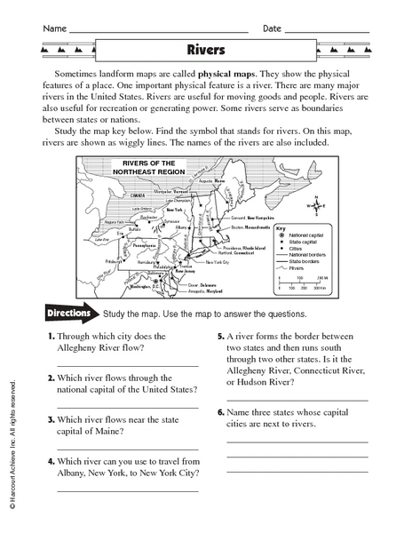 Political Map Worksheet.Physical Maps Rivers Worksheet For 5th 6th Grade Lesson Planet