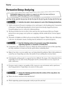 Persuasive Essay: Analyzing Worksheet