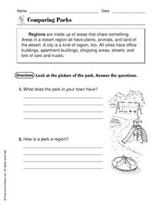 Regions: Comparing Parks Worksheet