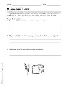 Making New Traits Worksheet