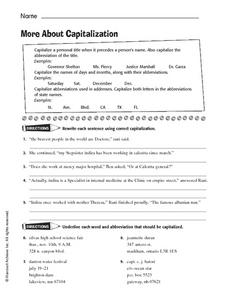 More About Capitalization Worksheet