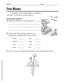 Food Makers Worksheet