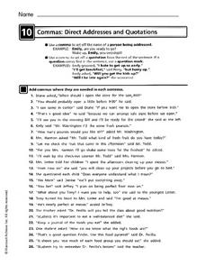 Commas: Direct Addresses and Quotations Worksheet