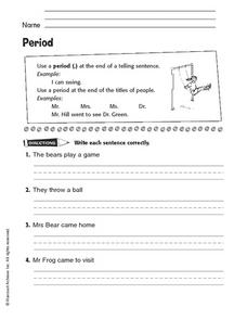 Punctuation: Using a Period Worksheet