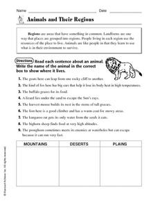 Animals and Their Regions Worksheet